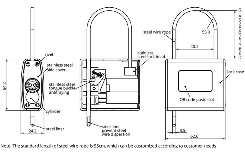 Secure cable padlock dimension